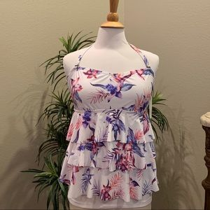 Island Escape Sunset Blooms Tiered Tankini Top 16